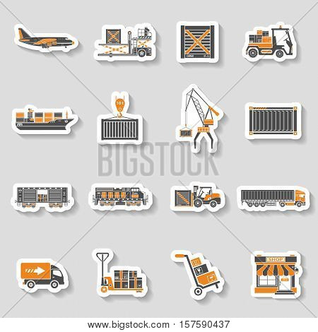 Cargo Transport, Packaging, shipping and logistics two color sticker Icon Set such as Truck, air cargo, Train, Shipping. vector illustration