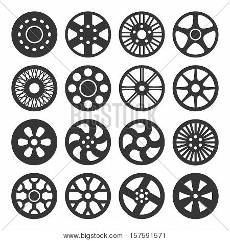 Wheel Disks or Rims Icon Set. Vector illustration