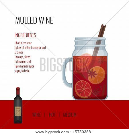 Mulled Wine In Mason Jar With Recipes And Ingredients. Bar Menu. Vector Illustration.