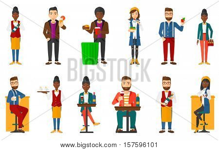 Young waiter holding bottle of wine. Smiling waiter holding tray with cups of coffee. Waiter in apron presenting a wine bottle. Set of vector flat design illustrations isolated on white background.