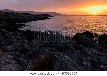 Gorgeous sunset on the coast of Crete