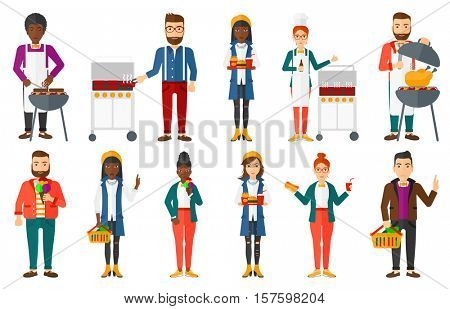 Man holding basket full of healthy food and making gesture symbolizing rejection of unhealthy nutrition. Healthy nutrition concept. Set of vector flat design illustrations isolated on white background