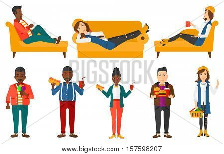 Fat young man holding tray full of junk food. Happy man in fast food restaurant. Plump man having lunch in a fast food restaurant. Set of vector flat design illustrations isolated on white background.