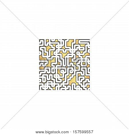 Labyrinth Gold vector icon with black contour line. Flat computer symbol