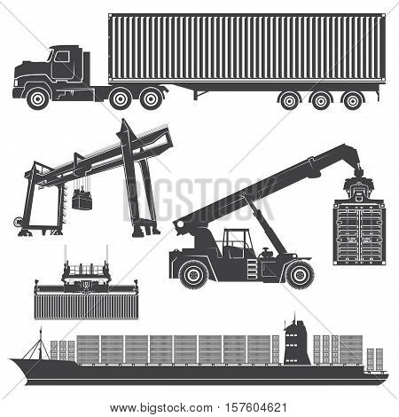 Vector set of isolated silhouette of a container loader, gantry crane, ship, vessel, container chassis. Transportation logistics shipping containers.