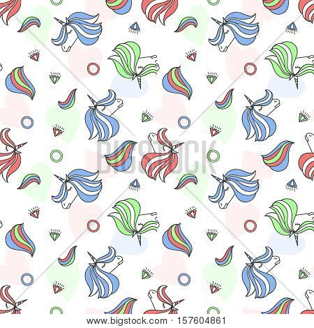 Colorful seamless pattern with unicorn, heart, diamond, crystal. Hand drawn Illustration for kid textile, card, pin, t-shirt print design. Fashion trend background. Fairy tale, magic