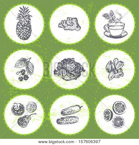 Ink hand drawn fat burners fruits and veggies