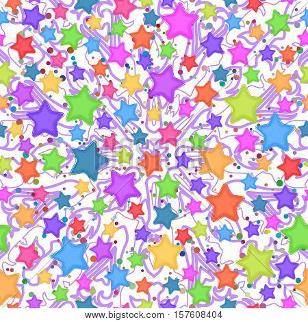 Seamless Pattern for Childish and Holiday Design, Colorful Stars and Abstract Background. Vector