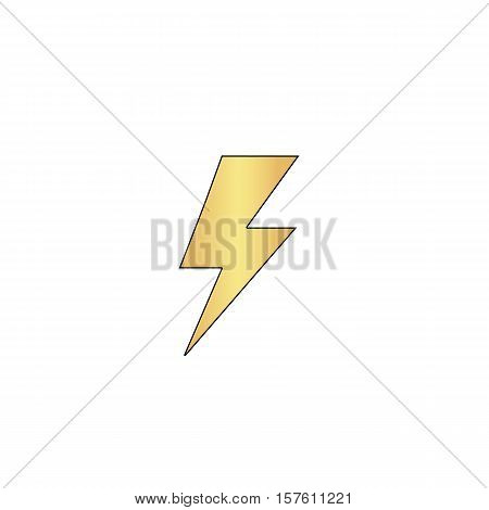 lighting bolt Gold vector icon with black contour line. Flat computer symbol
