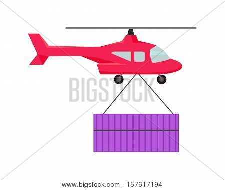 Helicopter worldwide warehouse delivering. Logistics container shipping and distribution. Transportation by water in mountains in desert and in snow. Loading and unloading boxes. Vector illustration
