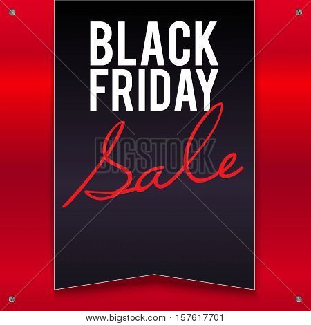 Black Friday sale large black banner, pennant, flag on a bright, red background with twisted at the corners with screws