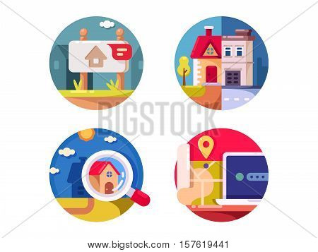 Immovable property rental, sale and purchase. Real estate market. Vector illustration
