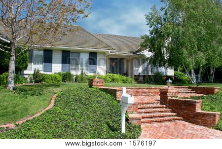 Beautiful House With Red Brick Steps