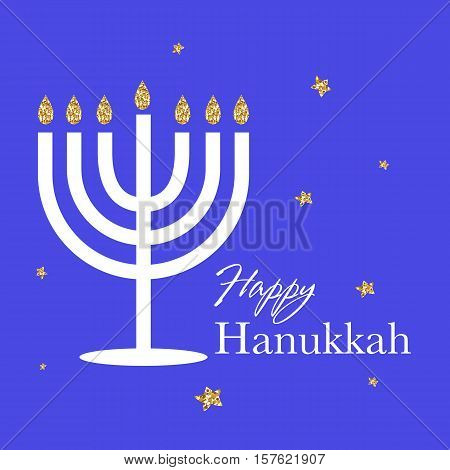 Happy Hanukkah logotype, badge and icon typography. Lettering of happy Hanukkah logo template. Happy Hanukkah card template.