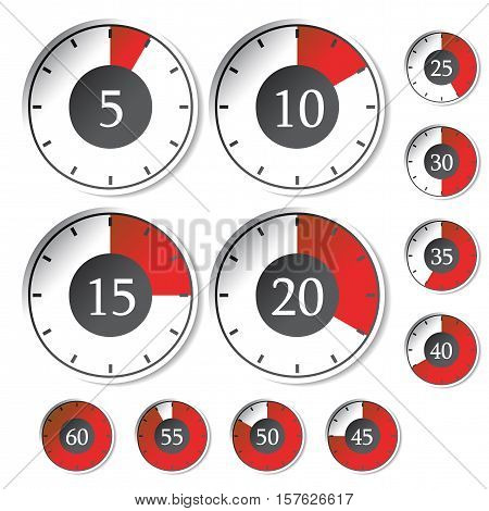 Vector set of red timers - illustration