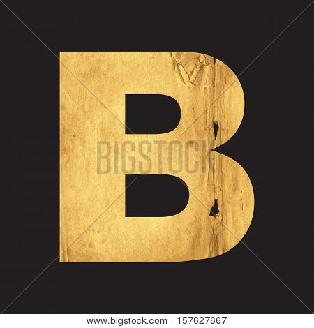 Letter B of the English alphabet carved out of the old paper on black vector