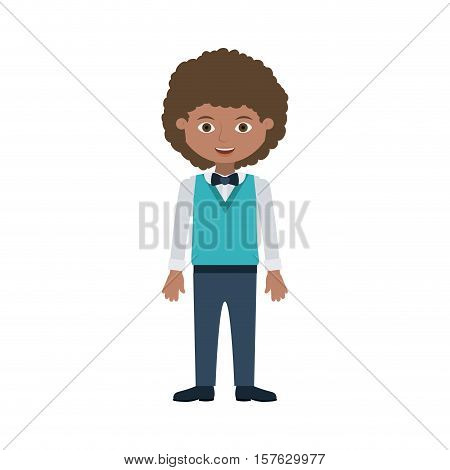 man young with wavy hair formal suit vector illustration