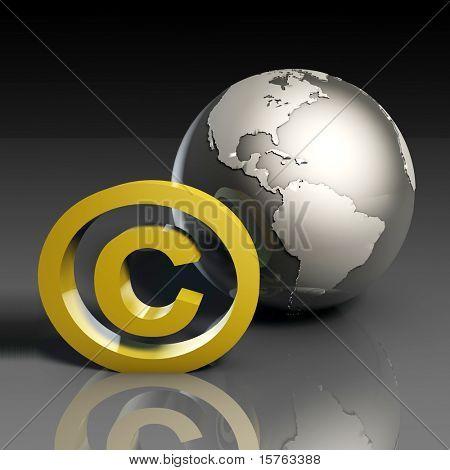 Global Copyright Concept in 3d Presentation Art