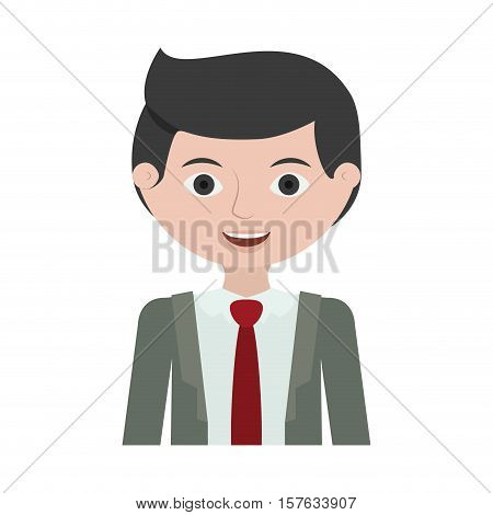 half body man young with formal suit vector illustration