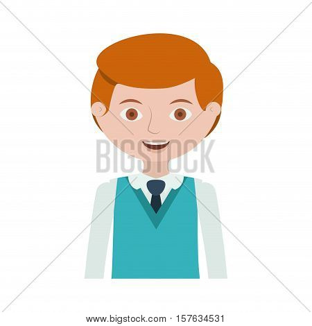 half body redhead man with formal suit and tie vector illustration
