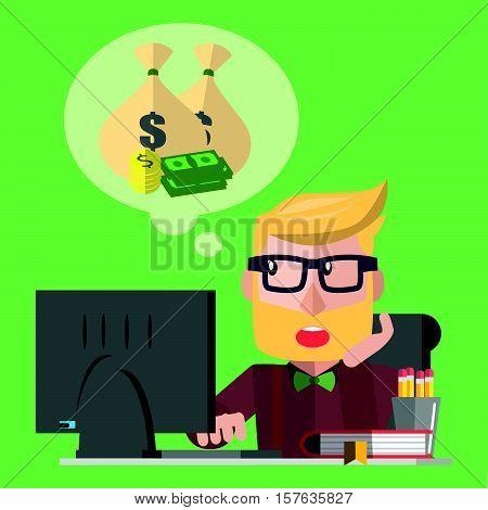 Business man dreaming eps10 vector illustration design