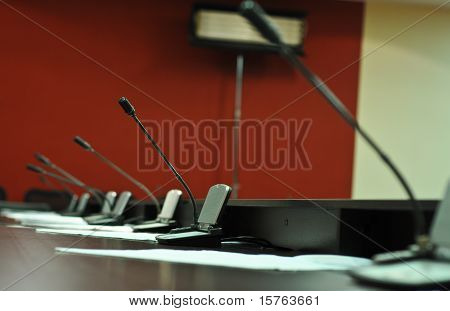 the Conference table and microphones close up