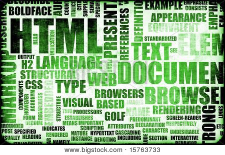 Green HTML Script Code as a Background