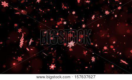 Christmas Snowflakes On Dark Background. Winter Background With Snowflakes. Holiday Greeting With Sn