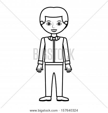 man silhouette with formal shirt and bowtie