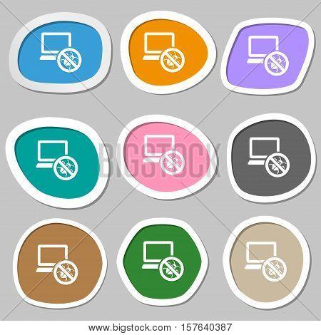 Bug Find Icon Symbols. Multicolored Paper Stickers. Vector