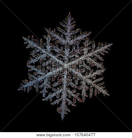 Snowflake isolated on black background. This is macro photo of real snow crystal: very large fernlike dendrite with traditional shape, complex structure and massive arms with lots of side branches and small details.