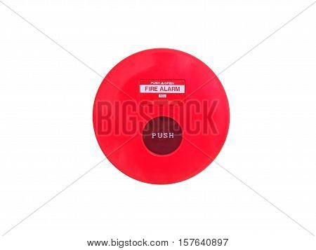 red fire alarm isolated on white background.