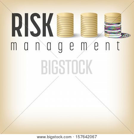 Vector golden coin and risk management icon