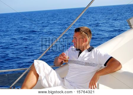 Sailor Relaxing On Boat Drinking Cold Coffee