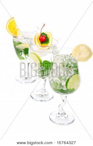 Three Citrus Mojito Cocktails Row Alcohol