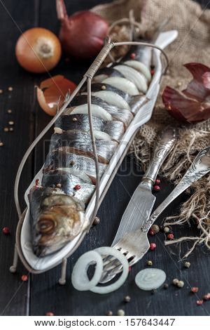 Salted Herring With Onions And Spices.
