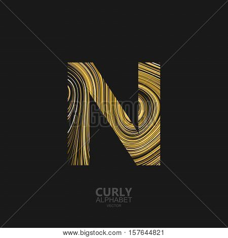 Curly textured Letter N. Typographic vector element for design. Part of marble or acrylic texture imitation textured alphabet. Letter N with diffusion lines swirly pattern. Vector illustration