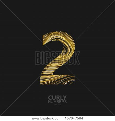 Curly textured number 2. Typographic vector element for design. Part of marble or acrylic texture imitation textured alphabet. Digit two with diffusion lines swirly pattern. Vector illustration