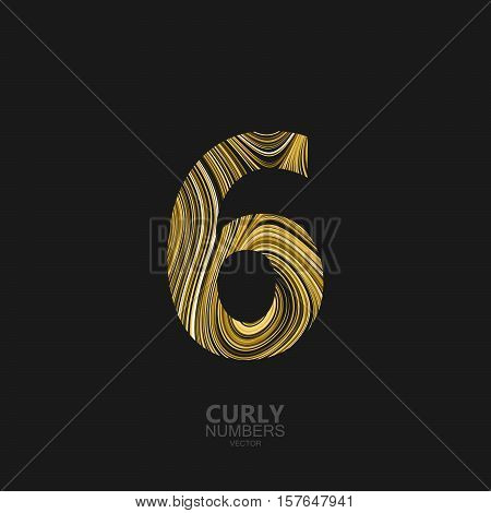 Curly textured number 6. Typographic vector element for design. Part of marble or acrylic texture imitation textured alphabet. Digit six with diffusion lines swirly pattern. Vector illustration