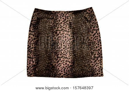 Leopard skin skirt isolated on white background. Brown short mini skirt animal print wool cut out on white.