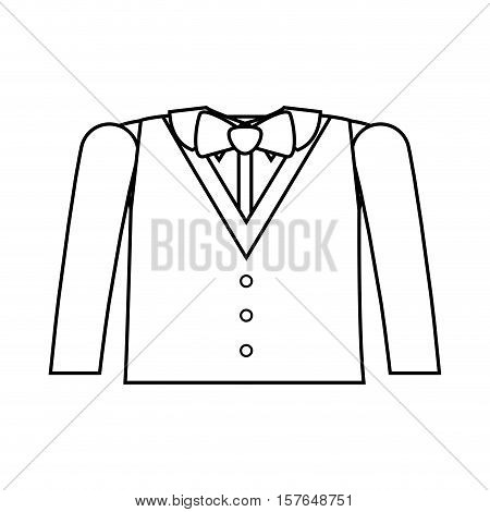 formal suit silhouette with bowtie and long sleeves vector illustration