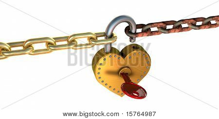 Heart Padlock And Chains