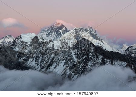 Mount Everest View From Gokyo Ri. Picturesque Mountain Sunset With Clouds At The Foot Of Everest. Dr