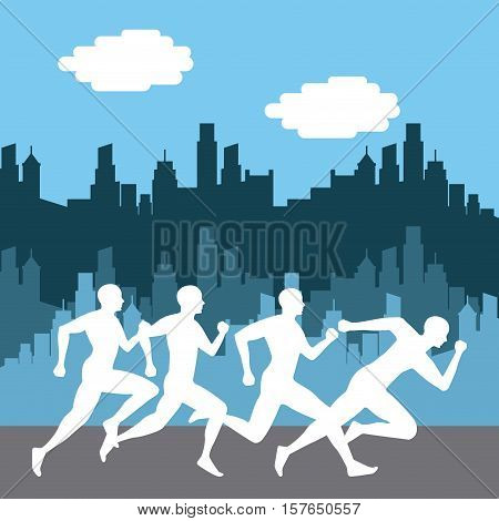 silhouette of people running over city background. marathon running competition colorful design. vector illustration