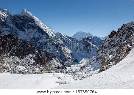Amazing Mountain Landscape On The Three Passes Trek In Himalayas, Nepal. Beautiful Highlands Scenery