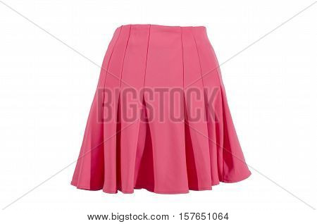 Summer neon pink skirt isolated on white background. Short magenta mini skirt with cut out on white.