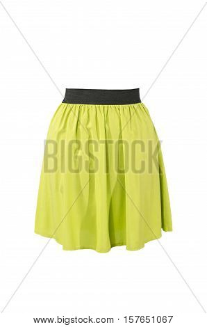 Summer neon green skirt isolated on white background. Short mini skirt with cut out on white.