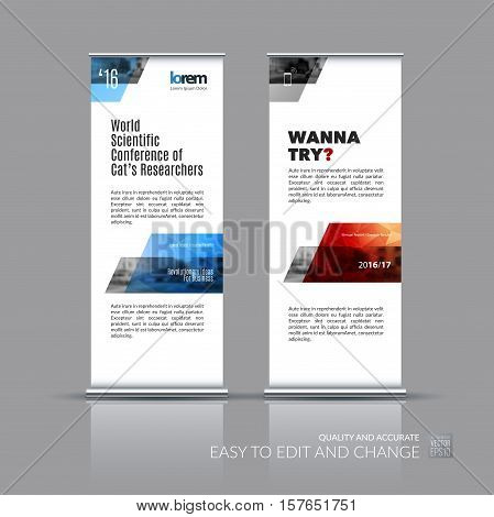 Business vector set of modern roll Up Banner stand design with dynamic geometric shapes, parallelogram, rectangle for science, travel, network. Brochure for exhibition, fair, show.