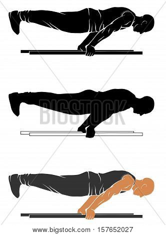 Vector silhouettes of street workout - plank push up