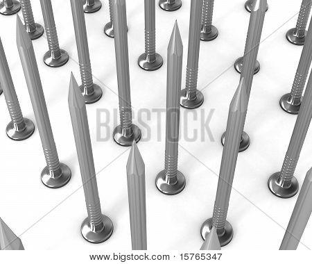 Rows Of Steel Nails Isolated On White